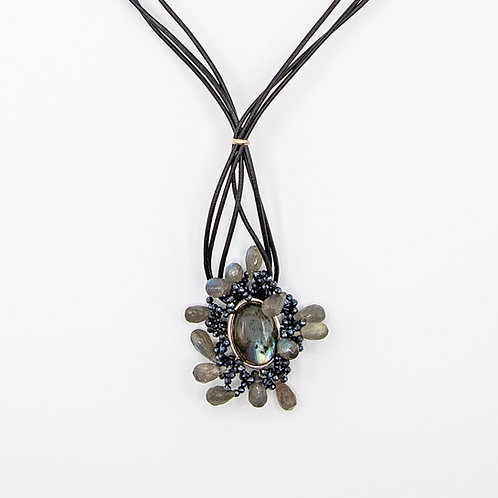 Genuine Leather Choker with Labradorite and Spinel