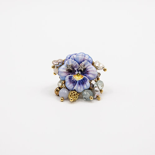 Hand-Painted Flower Copper Ring with Stones, Pearls, and Diamonds
