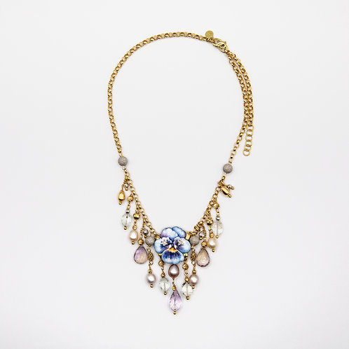 Gabriella Rivalta Necklace with Hand-Painted Flower and Charms