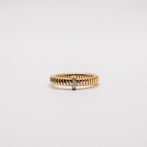 Rose Gold Band with White Gold Bar and Recessed Glitters
