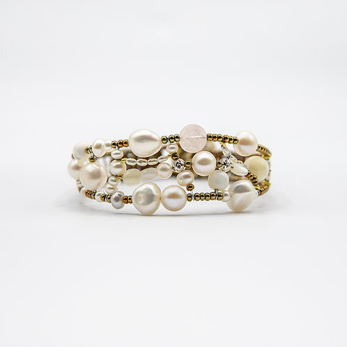 Ziio Silver Bracelet with Natural Stones, Morganite and Fresh Water Pearls