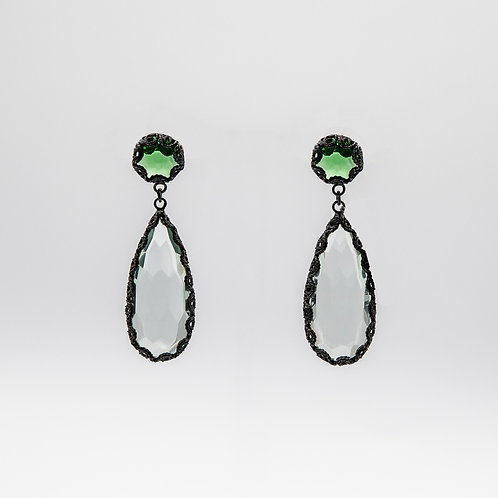 Yvone Christa Hand-Crafted Green Quartz Earrings in Black Rhodium-Plated Silver