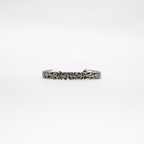Hand Engraved Black Rhodium-Plated Silver Small Cuff Bracelet