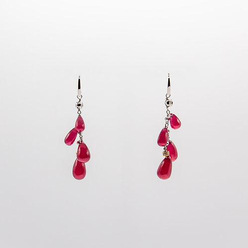 Earrings with 56.30 ct Cabochon Ruby Drops of Various Sizes and Diamonds