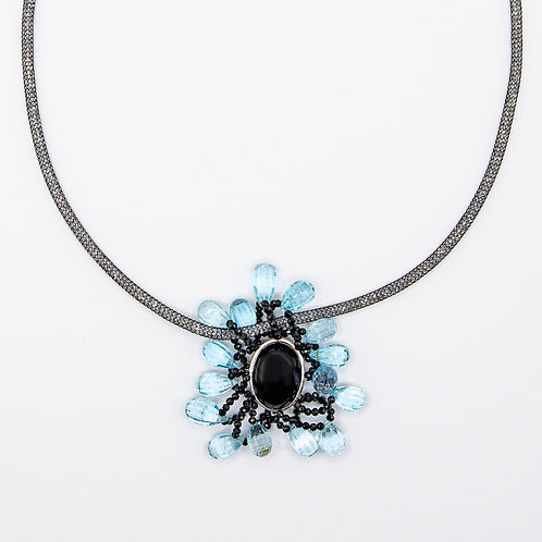 Luminous Choker with Onyx Pendant, Black Spinel, and Blue Topaz