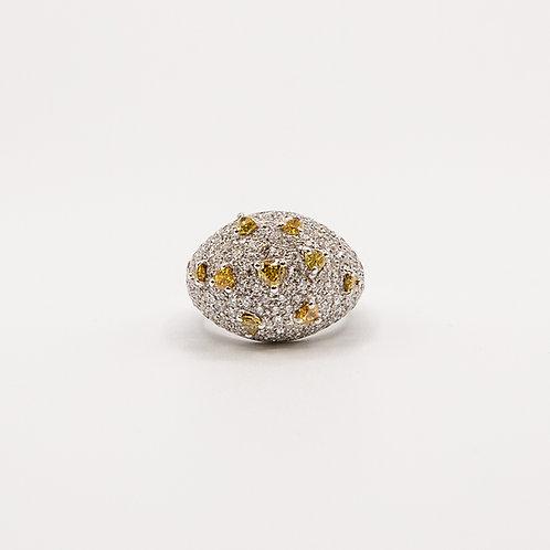 Fancy Colour Diamond Ring in White Gold