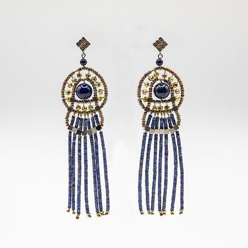 Ziio Lapis Fringe Earrings decorated with Brass, Silver and Murano Glass Beads