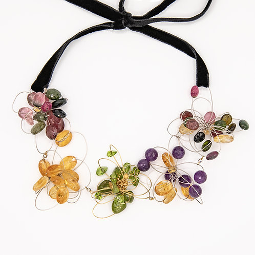 Butterfly Necklace with Multicolor Stones, Silver and Yellow Gold Laminated Sil