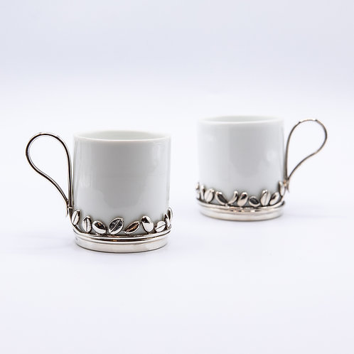 Richard Ginori 1735 Espresso Cup Set with Silver Flower Stands