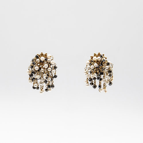 Fringe Earrings in Gold with Black Diamonds and Akoya Pearls