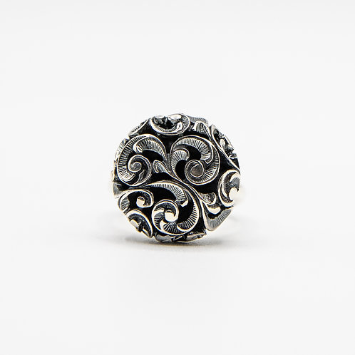 Hand Engraved Black Rhodium-Plated Silver Large Pad Ring