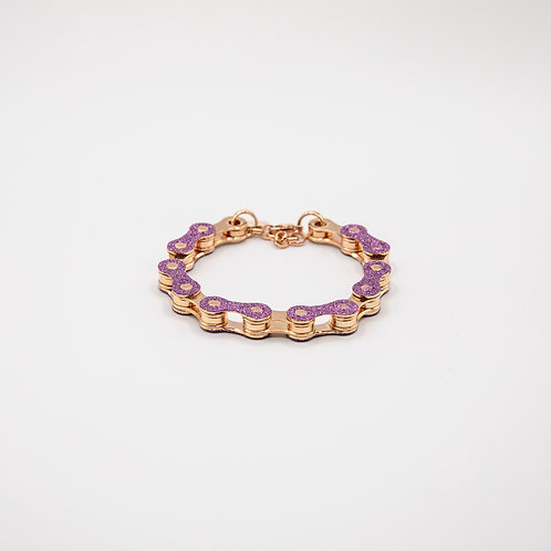 Altair Bracelet Classic Model in 18k Rose Gold with Purple Glitters