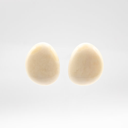 Monies White Horn Button Earrings with Clip Closure