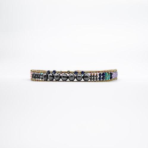 Ziio Boa Bracelet in Silver with Hematite, Lapis Lazuli, and Quartz