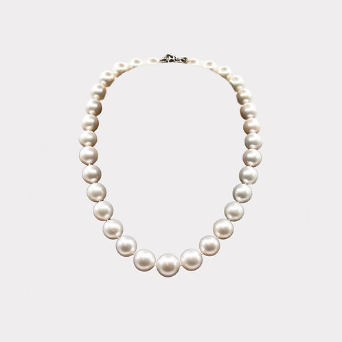 Australian South Sea Pearl Necklace with White Gold Closure with Diamond Petal