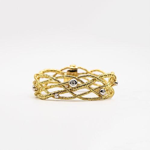 Orlando Orlandini 18k Yellow Gold Woven Bracelet with 0.32 ct Diamonds