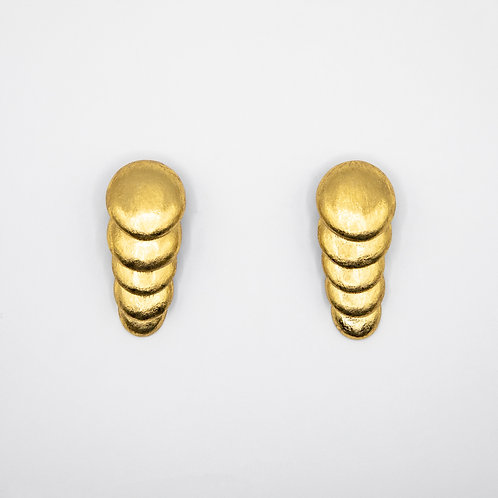 Monies Layered Circle Earrings in Acacia with Gold Foil