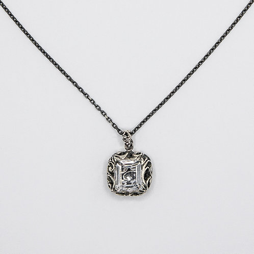 Hand Engraved Black Rhodium-Plated Silver Necklace with Quartz