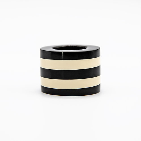 Monies Black and White Striped Cylinder-Shaped Polycarbonate Ring
