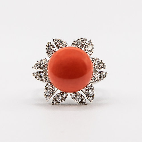Coral Button Ring in White Gold with Diamond Contour