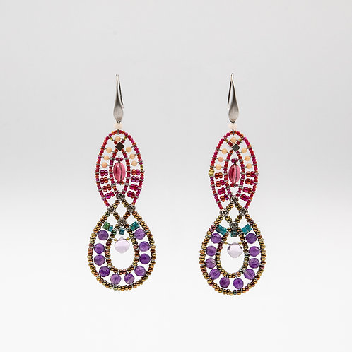 Ziio Amethyst Earrings with Murano Glass, and Turquoise Tourmaline