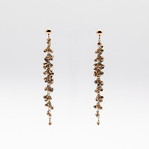 Earrings of Cluster of Spheres in Rose Gold and Black Rhodium Laminated Silver
