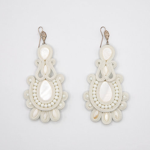 White Passementerie Earrings with White Natural Stones and 925 Silver