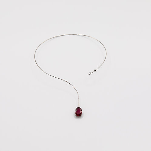 10.633 ct African Ruby Necklace in White Gold