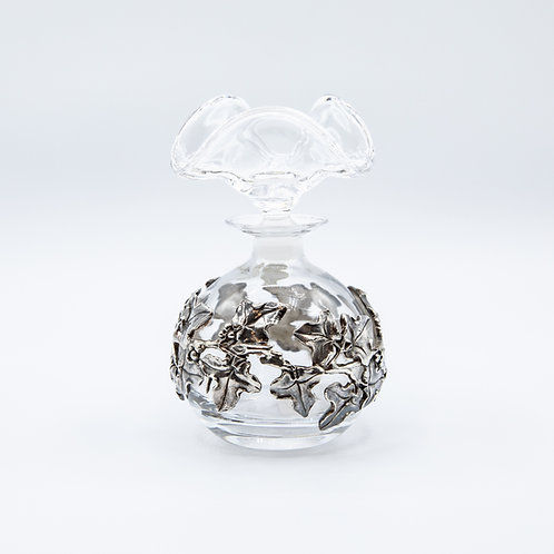 Belfiore Crystal Perfume Bottle with Hand-Engraved 925 Silver Leaves
