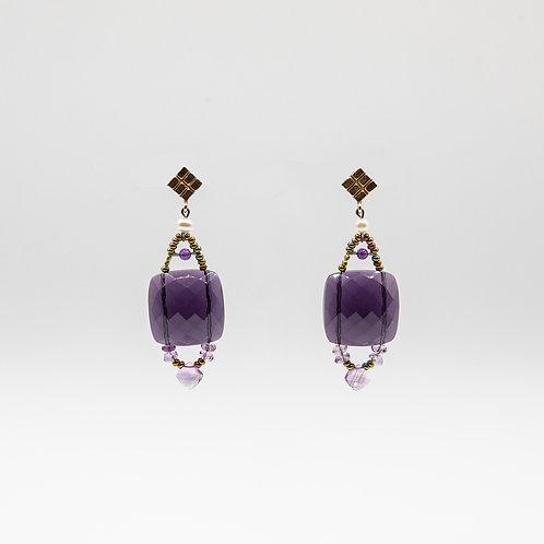 Ziio Amethyst Earrings with Garnet, Murano Glass, and Pearls