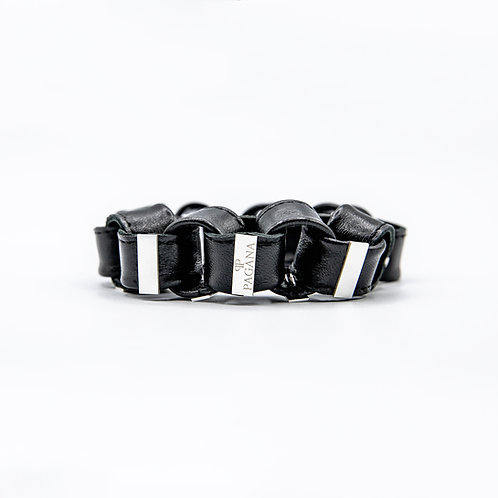 Genuine Leather Chain Bracelet with Pagana Silver Plaque
