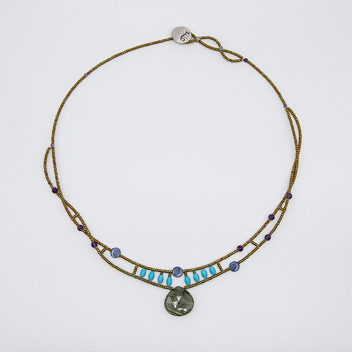 Ziio Silver Necklace with Amethyst, Kyanite, Turquoise and Labradorite