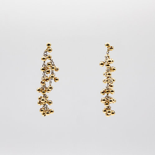 Earrings with Spheres in Yellow Gold Laminated Silver
