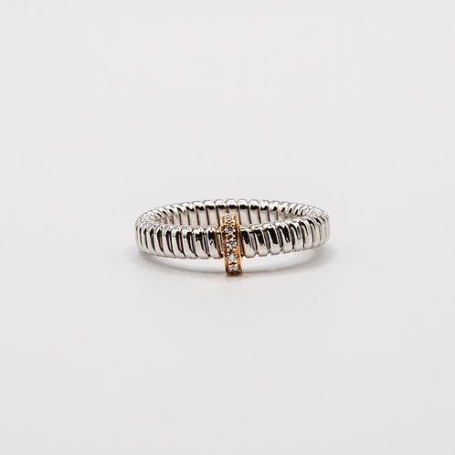 White Gold Band with Rose Gold Bar and Recessed Glitters