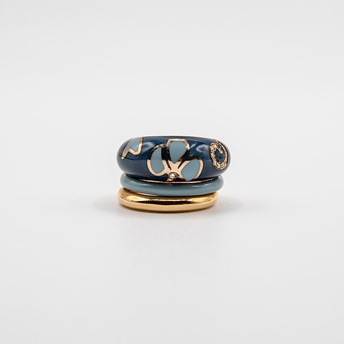 Layered Enamel Gold Ring with Diamonds