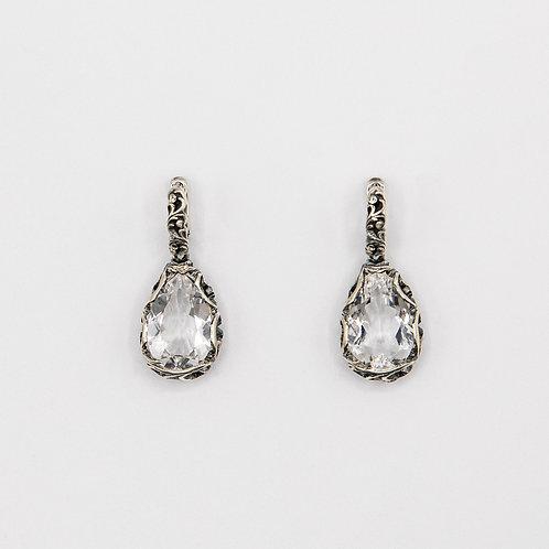 Black Rhodium Silver Circle Drop Earrings