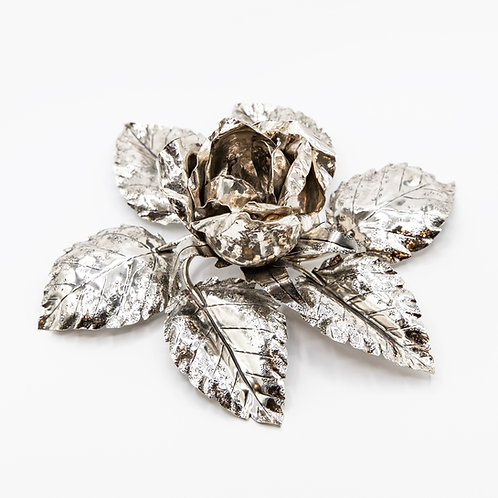 Italo Gori Hand-Crafted Rose-Shaped 925 Silver Candle Holder