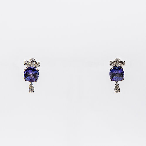 4.97 ct Cushion-Cut Tanzanite Earrings with Drop-Cut Diamonds
