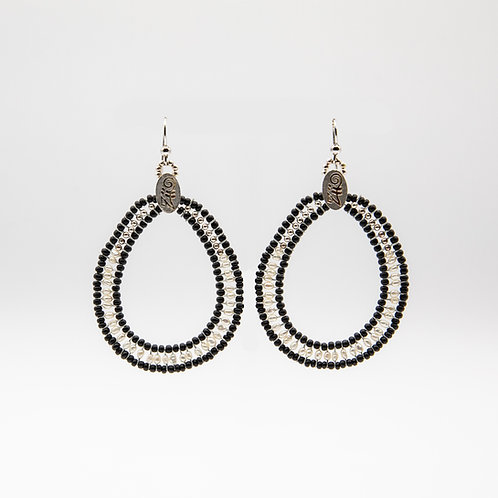 Ziio Silver Circle Earrings with Pearls and Murano Glass