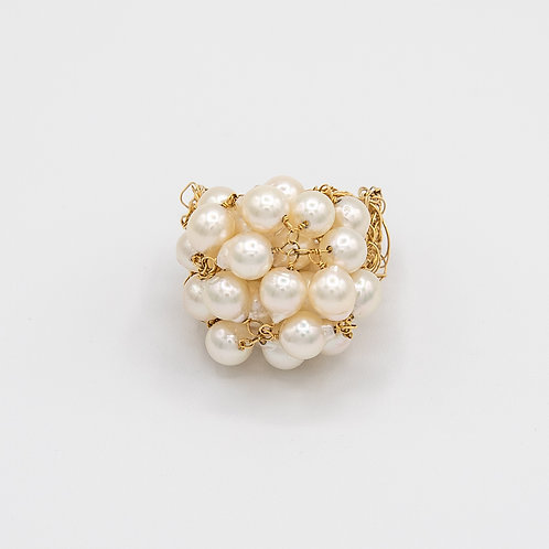 Braided Threads of Gold and Akoya Pearls Ring