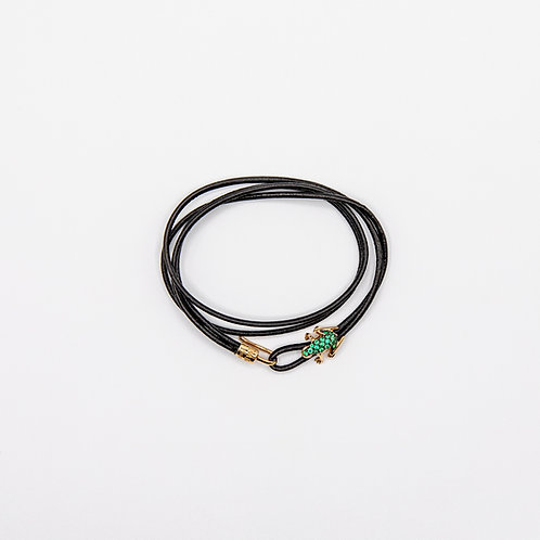 Genuine Leather Layered Bracelet with Emerald Made Frog in 18k Yellow Gold