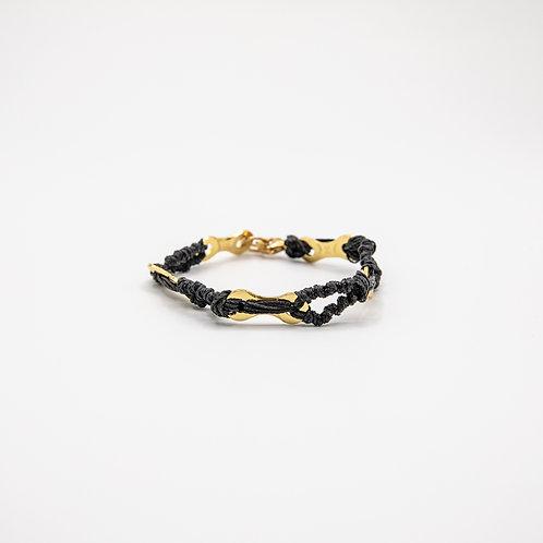 Altair Bracelet Summer Model in 18k Gold with Black Strings