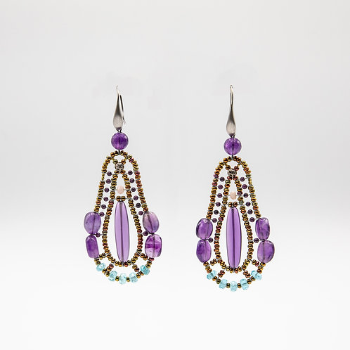 Ziio Amethyst Earrings with Apatite, Coral and Murano Glass