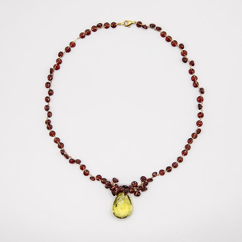 Garnet Necklace in 18k Yellow Gold with Citrine Pendant