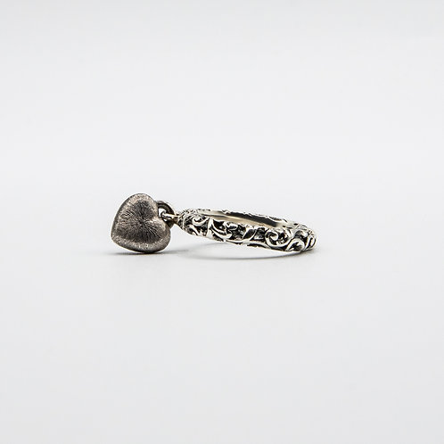Hand Engraved Black Rhodium Silver Band with Heart-Shaped Pendant