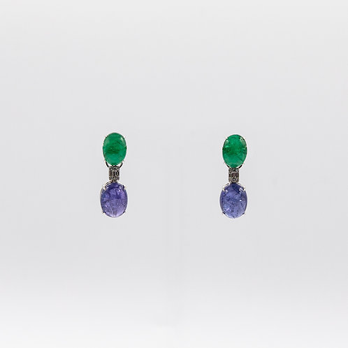 Emerald Cabochon Earrings with Tanzanite Cabochon joined byIllusion Diamonds
