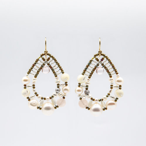 Ziio Silver Earrings with Morganite, Quartz, and Mother of Pearl