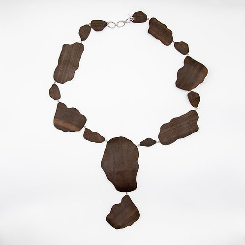 Ebony Necklace with Hand-Engraved 18k Satin White Gold