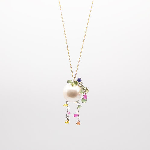 Fresh Water Pearl Necklace with Multicoloured Stones and Gold