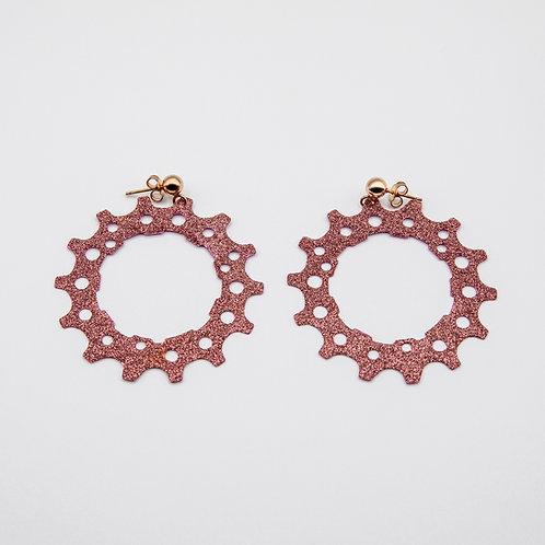 Altair Bracelet Pinion Model Earrings in Purple with Pink Glitters